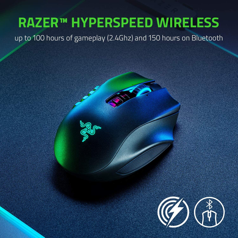 Razer Naga Pro - Modulare kabellose Gaming Maus mit Bluetooth 2,4Ghz